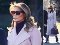 Fashion Notes: Melania Trump is Chic in Lilac Ralph Lauren, Bordeaux Hermès