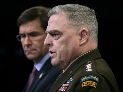 ARLINGTON, VA DECEMBER 20: (L-R) Secretary of Defense Mark Esper and Chairman of the Joint Chiefs of Staff Army Gen. Mark Milley hold an end of year press conference at the Pentagon on December 20, 2019 in Arlington, Virginia. Esper and Milley fielded questions on a wide range of topics, …
