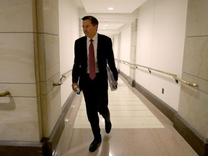 WASHINGTON, DC - OCTOBER 04: Michael Atkinson, Inspector General of the Intelligence Community, leaves a meeting in the U.S. Capitol October 4, 2019 in Washington, DC. Atkinson met with the House Select Committee on Intelligence today in the ongoing impeachment inquiry against U.S. President Donald Trump. (Photo by Mark Wilson/Getty …