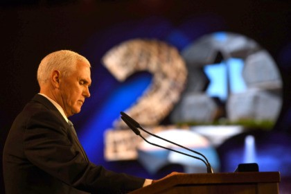 "JERUSALEM, ISRAEL - JANUARY 23: U.S. Vice President Mike Pence speaks at the 5th World Holocaust Forum at Yad Vashem Holocaust memorial museum on January 23, 2020 in Jerusalem, Israel. Heads of State gathering in Jerusalem to mark 75 years since the liberation of Auschwitz will be the ""largest diplomatic …"