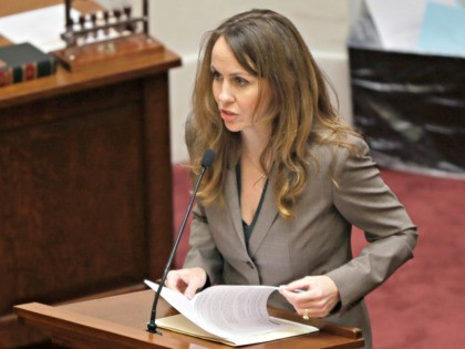 State Sen. Missy Irvin, R-Mountain View, explains a bill in the Senate chamber at the Arkansas state Capitol in Little Rock, Ark., Thursday, Feb. 12, 2015, that would ban using telemedicine to administer the abortion pill. (AP Photo/Danny Johnston)