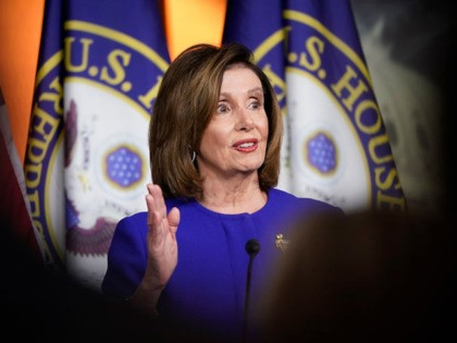 WASHINGTON, DC - JANUARY 09: U.S. Speaker of the House Nancy Pelosi (D-CA) answers questions during a press conference at the U.S. Capitol on January 09, 2020 in Washington, DC. During the press conference Pelosi declined to say when she would send the House's articles of impeachment to the U.S. …