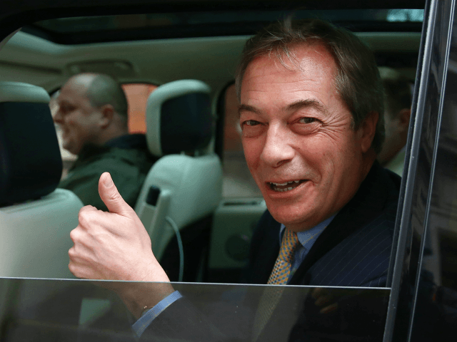 LONDON, ENGLAND - JANUARY 30: Brexit Party Leader Nigel Farage outside Millbank studios on January 30, 2020 in London, United Kingdom. At 11.00pm on Friday 31st January the UK and Northern Ireland will exit the European Union 188 weeks after the referendum on June 23rd 2016. (Photo by Hollie Adams/Getty …