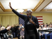 Former Ohio state Sen. Nina Turner introduces Democratic presidential candidate Sen. Bernie Sanders, I-Vt., during a campaign event, Saturday, Jan. 4, 2020, in Mason City, Iowa. (AP Photo/Patrick Semansky)