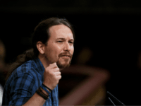 MADRID, SPAIN - OCTOBER 29: Leader of Podemos (We Can) party Pablo Iglesias speaks during the final day of the investiture debate at the Spanish Parliament on October 29, 2016 in Madrid, Spain. Rajoy is due to be elected again as Spanish Prime Minister after the expected abstention of the …