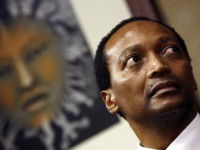 South African businessman and outgoing Business Unity South Africa (BUSA) president Patrice Motsepe looks on while listening to unseen newly appointed BUSA president Brian Molefe speak on May 07, 2008 at the BUSA headquarters in Sandton. The new head of South African business group BUSA said on May 7, he …