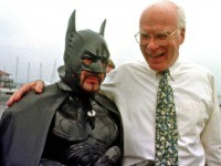 In this Aug. 6, 1998 file photo, U.S. Sen. Patrick Leahy, D-Vt., right, jokes with 'Batman', also known as Ryan LeBlanc , in Burlington, Vt. Leahy is renewing his fascination with the Caped Crusader by appearing in a scene in the next Batman movie, 'The Dark Knight Rises,' which will …