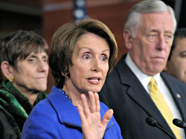 Democratic Leader Nancy Pelosi, D-Calif., speaks during a news conference on Capitol Hill in Washington, Tuesday, Dec. 20, 2011. She is joined by Rep. Rosa DeLauro, D-Conn., left, and House Minority Whip Steny Hoyer, D-Md., right, (AP Photo/Susan Walsh)