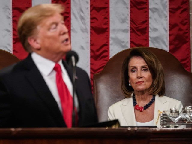 WASHINGTON, DC - FEBRUARY 5: Speaker Nancy Pelosi and Vice President Mike Pence look on as U.S. President Donald Trump delivers the State of the Union address in the chamber of the U.S. House of Representatives at the U.S. Capitol Building on February 5, 2019 in Washington, DC. President Trump's …