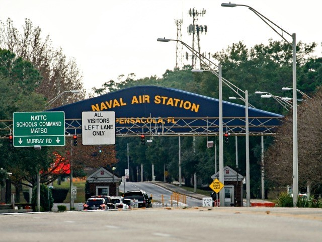 PENSACOLA, FLORIDA - DECEMBER 06: A general view of the atmosphere at the Pensacola Naval Air Station main gate following a shooting on December 06, 2019 in Pensacola, Florida. The second shooting on a U.S. Naval Base in a week has left three dead plus the suspect and seven people …