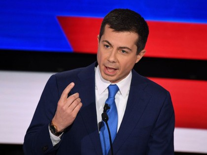 Democratic presidential hopeful Mayor of South Bend, Indiana Pete Buttigieg speaks during the seventh Democratic primary debate of the 2020 presidential campaign season co-hosted by CNN and the Des Moines Register at the Drake University campus in Des Moines, Iowa on January 14, 2020. (Photo by Robyn Beck / AFP) …