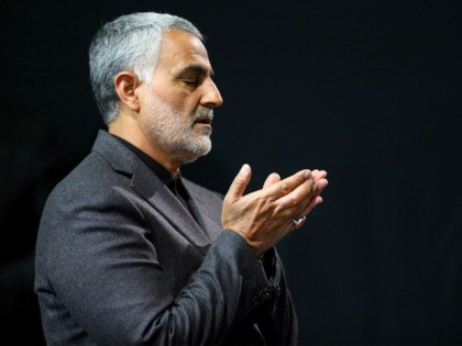 n this Friday, March 27, 2015, file photo provided by an official website of the office of the Iranian supreme leader, commander of Iran's Quds Force, Qassem Soleimani prays in a religious ceremony at a mosque in the residence of Supreme Leader Ayatollah Ali Khamenei, in Tehran, Iran. Iraqi TV …