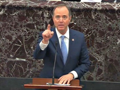 WASHINGTON, DC - JANUARY 21: In this screengrab taken from a Senate Television webcast, House impeachment manager Rep. Adam Schiff (D-CA) speaks during impeachment proceedings against U.S. President Donald Trump in the Senate at the U.S. Capitol on January 21, 2020 in Washington, DC. (Photo by Senate Television via Getty …