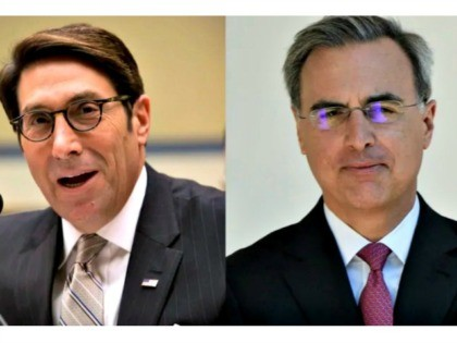Jay Sekulow, left, and Pat Cipollone, right, both lawyers long known to back conservative causes, will be part of Trump's legal team as he tries to avoid a conviction in a Senate trial. (Pablo Martinez Monsivai/The Associated Press, Brendan Smialowski/AFP/Getty Images)