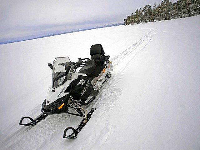 Snowmobile experience through wilderness of Lake Inari with VisitInari, Lapland, Finland. (Photo by: VW PICS/Universal Images Group via Getty Images)