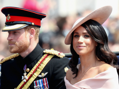 LONDON, ENGLAND - JUNE 09: Meghan, Duchess of Sussex and Prince Harry, Duke of Sussex during Trooping The Colour on the Mall on June 9, 2018 in London, England. The annual ceremony involving over 1400 guardsmen and cavalry, is believed to have first been performed during the reign of King …