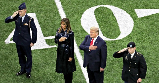Fans Cheer Donald Trump as He Attends College Football Championship Game