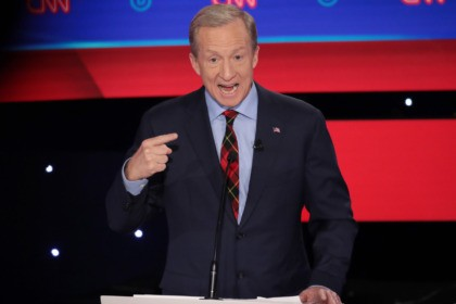 DES MOINES, IOWA - JANUARY 14: Tom Steyer speaks during the Democratic presidential primary debate at Drake University on January 14, 2020 in Des Moines, Iowa. Six candidates out of the field qualified for the first Democratic presidential primary debate of 2020, hosted by CNN and the Des Moines Register. …
