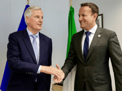 European Union chief Brexit negotiator Michel Barnier (L), shakes hands with Irish Prime Minister Leo Varadkar prior to a meeting on the sidelines of an European Council Summit at The Europa Building in Brussels, on June 20, 2019. (Photo by Olivier Matthys / POOL / AFP) (Photo credit should read …