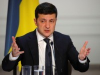 Ukraine's President Volodymyr Zelenskiy speaks during a press conference after a summit on Ukraine at the Elysee Palace, in Paris, on December 9, 2019. - Leaders aim for new withdrawal of forces from Ukraine conflict zones by March 2020, according to a communique on December 9, 2019. (Photo by CHARLES …