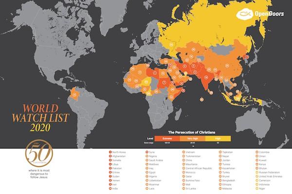 Open Doors' World Watch List Countries 2020 (courtesy Open Doors)