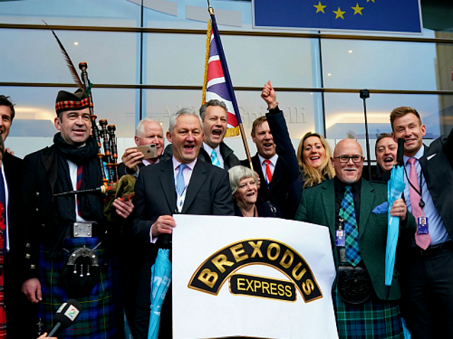 British members of the European Parliament from the Brexit Party pose for a photograph as they leave the European Parliament, in Brussels on January 31, 2020 on the Brexit day. - Britain's departure from the European Union was set in law on January 29, amid emotional scenes, as the bloc's …