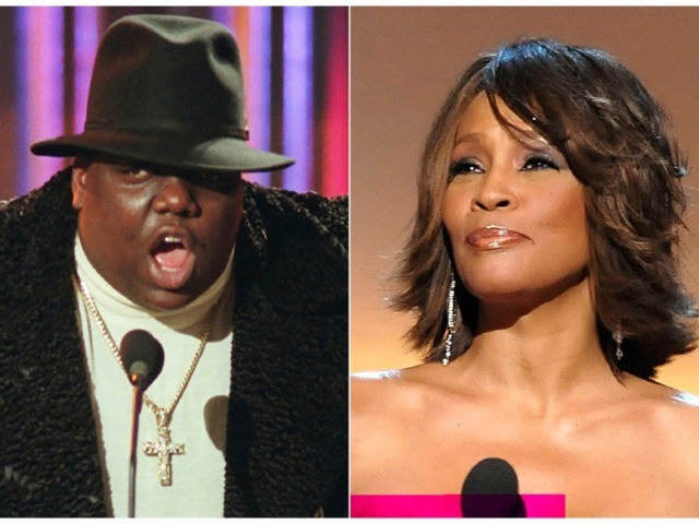 This combination photo shows Notorious B.I.G., who won rap artist and rap single of the year, during the annual Billboard Music Awards in New York on Dec. 6, 1995, left, and singer Whitney Houston at the BET Honors in Washington on Jan. 17, 2009. The pair will be inducted into …