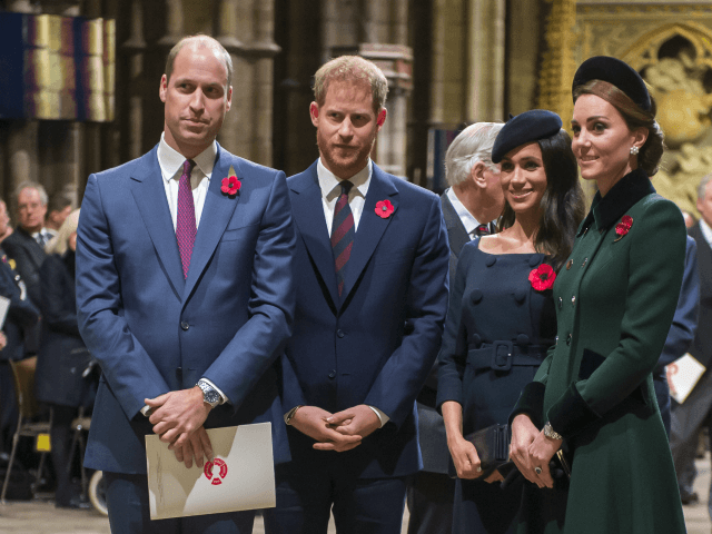 LONDON, ENGLAND - NOVEMBER 11: Prince William, Duke of Cambridge and Catherine, Duchess of Cambridge, Prince Harry, Duke of Sussex and Meghan, Duchess of Sussex attend a service marking the centenary of WW1 armistice at Westminster Abbey on November 11, 2018 in London, England. The armistice ending the First World …