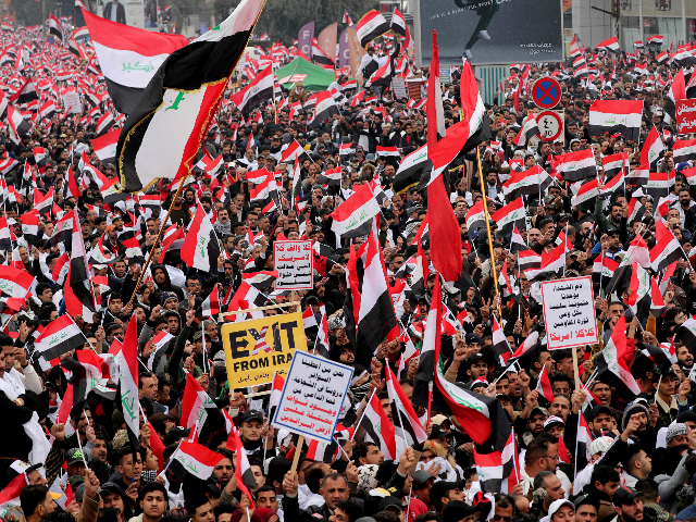 Followers of Shiite cleric Muqtada al-Sadr gather in Baghdad, Iraq, Friday, Jan. 24, 2020. Thousands of supporters of an influential, radical Shiite cleric gathered Friday in central Baghdad for a rally to demand that American troops leave the country amid heightened anti-US sentiment after a drone strike ordered by Washington …