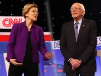 caption on that: JANUARY 14: Tom Steyer (L-R), Sen. Elizabeth Warren (D-MA), former Vice President Joe Biden, Sen. Bernie Sanders (I-VT), former South Bend, Indiana Mayor Pete Buttigieg, and Sen. Amy Klobuchar (D-MN) await the start of the Democratic presidential primary debate at Drake University on January 14, 2020 in …