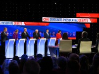 (L-R) Democratic presidential hopefuls billionaire-philanthropist Tom Steyer, Massachusetts Senator Elizabeth Warren, Former Vice President Joe Biden, Vermont Senator Bernie Sanders, Mayor of South Bend, Indiana, Pete Buttigieg and Minnesota Senator Amy Klobuchar speak during the seventh Democratic primary debate of the 2020 presidential campaign season co-hosted by CNN and the …
