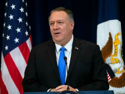 Secretary of State Mike Pompeo delivers remarks on human rights in Iran at the State Department in Washington, Thursday, Dec. 19, 2019. (AP Photo/Matt Rourke)