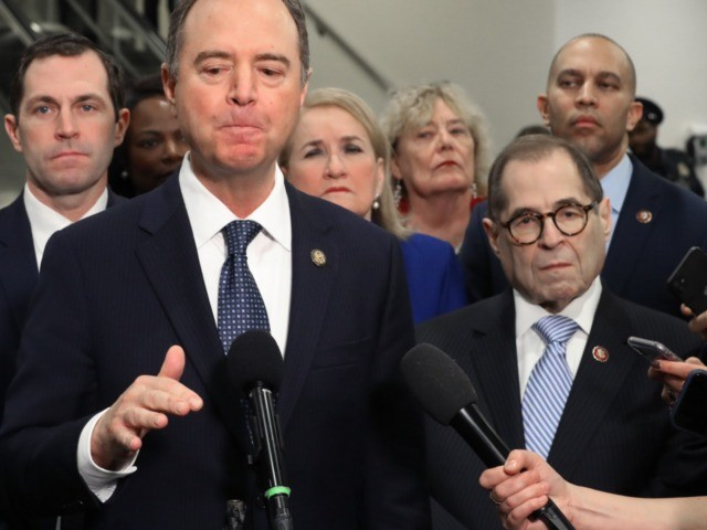 WASHINGTON, DC - JANUARY 22: House impeachment managers (L-R) Rep. Jason Crow (D-CO), Sen. Adam Schiff (D-CA), Rep. Sylvia Garcia (D-TX), Rep. Zoe Lofgren (D-CA), Rep. Jerrold Nadler (D-NY) and Rep. Hakeem Jeffries (D-NY) talk to reporters before the second day of the Senate impeachment trial of President Donald Trump …
