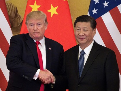 "US President Donald Trump (L) shakes hands with China's President Xi Jinping at the end of a press conference at the Great Hall of the People in Beijing on November 9, 2017. Donald Trump urged Chinese leader Xi Jinping to work ""hard"" and act fast to help resolve the North …"