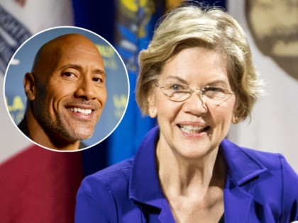 "(INSET: Dwayne Johnson aka ""The Rock"") ORANGEBURG, SC - NOVEMBER 08: Democratic presidential candidate, Sen. Elizabeth Warren (D-MA) addresses the audience at the Environmental Justice Presidential Candidate Forum at South Carolina State University on November 8, 2019 in Orangeburg, South Carolina. Warren participated in the forum with fellow candidates Sen. …"