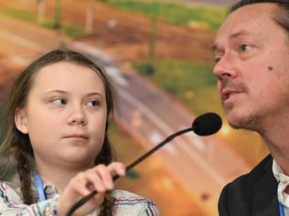 Swedish 15-year old climate activist, Greta Thunberg and her father Svante attend a press conference during the COP24 summit on climate change in Katowice, Poland, on December 04, 2018. - Greta decided to go on school strike every Friday in front of the Swedish parliament to get politicians to act …