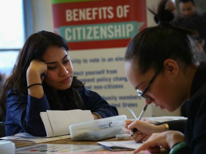 NEW YORK, NY - MARCH 12: A volunteer (R), assists an immigrant with her U.S. citizenship application at a Citizenship Now! event held by the City University of New York (CUNY), on March 12, 2016 in the Bronx borough of New York City. Many immigrants are rushing to process their …