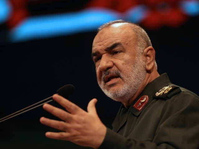 In this Nov. 22, 2018, the then deputy commander of Iran's Revolutionary Guard Gen. Hossein Salami speaks in a conference in Tehran, Iran. Iran's Revolutionary Guard shot down a U.S. drone on Thursday, June 20, 2019, amid heightened tensions between Tehran and Washington over its collapsing nuclear deal with world …