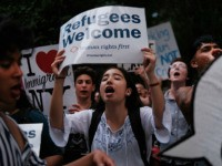 "Hundreds of people gather in front of U.S. Senator Chuck Schumer's Brooklyn apartment to protest the migrant detention facilities on July 02, 2019 in New York City. Across the country tens of thousands of people are gathering for ""Close the Camps' protests to voice their anger at the Trump administration's …"