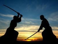 Martial art sword combat silhouettes