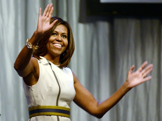 LOS ANGELES-CA-JULY 16: U.S. first lady Michelle Obama arrives to deliver gives the keynote address during Grammy Museum's Jane Ortner Education Award luncheon honoring Southern California-based educator Sunshine Cavalluzzi and six-time Grammy nominee Janelle Monae July 16, 2014, in Los Angeles, California. (Photo by Kevork Djansezian/Getty Images)