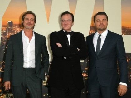 "HOLLYWOOD, CALIFORNIA - JULY 22: , Brad Pitt, Director Quentin Tarantino and Leonardo DiCaprio attend the Sony Pictures' ""Once Upon A Time...In Hollywood"" Los Angeles Premiere on July 22, 2019 in Hollywood, California. (Photo by Kevin Winter/Getty Images)"