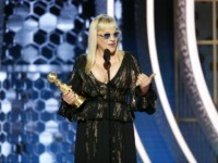 "BEVERLY HILLS, CALIFORNIA - JANUARY 05: In this handout photo provided by NBCUniversal Media, LLC, Patricia Arquette accepts the award for BEST PERFORMANCE BY AN ACTRESS IN A SUPPORTING ROLE IN A SERIES, LIMITED SERIES OR MOTION PICTURE MADE FOR TELEVISION for ""The Act"" onstage during the 77th Annual Golden …"