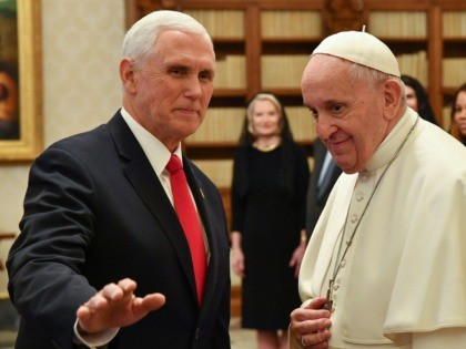Pope Francis (R) speaks with the US Vice President Mike Pence (L) during a private audience at the Vatican, January 24, 2020. (Photo by ALESSANDRO DI MEO / POOL / AFP) (Photo by ALESSANDRO DI MEO/POOL/AFP via Getty Images)