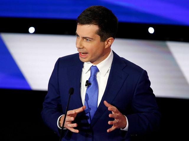 Democratic presidential candidate former South Bend Mayor Pete Buttigieg speaks Tuesday, Jan. 14, 2020, during a Democratic presidential primary debate hosted by CNN and the Des Moines Register in Des Moines, Iowa. (AP Photo/Patrick Semansky)