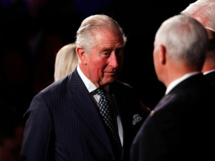 Britain's Prince Charles speaks to U.S. Vice President Mike Pence during the World Holocaust Forum marking 75 years since the liberation of the Nazi extermination camp Auschwitz, at Yad Vashem Holocaust memorial centre in Jerusalem, Thursday, Jan. 23, 2020. (Ronen Zvulun, Pool via AP)