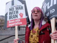 Protesters at the Stop the War Coalition demonstration against military action against Iran in London, England, United Kingdom, January 11th, 2020.