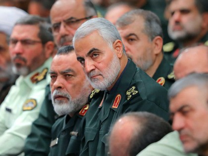 In this Wednesday, Oct. 2, 2019 photo, released by an official website of the office of the Iranian supreme leader, the head of the Revolutionary Guard's foreign wing, or Quds Force, Gen. Qassim Soleimani, center, attends a meeting of a group of the Guard members with Supreme Leader Ayatollah Ali …