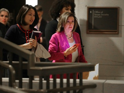 WASHINGTON, DC - JANUARY 07: Speaker of the House Nancy Pelosi (D-CA) leaves the Senate Sensitive Compartmented Information Facility inside the U.S. Capitol Visitors Center following a briefing for members of the Gang of Eight January 07, 2020 in Washington, DC. Composed of Congressional leaders from both parties and chairs …