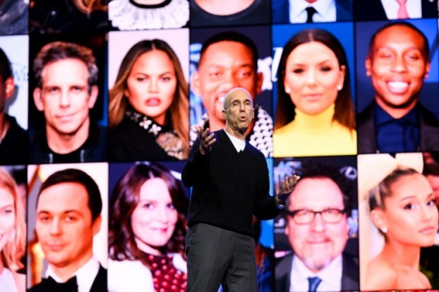 Film producer and Quibi founder Jeffrey Katzenberg speaks about the short-form video streaming service for mobile Quibi during a keynote address January 8, 2020 at the 2020 Consumer Electronics Show (CES) in Las Vegas